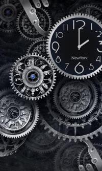 Black World Time Clock Theme