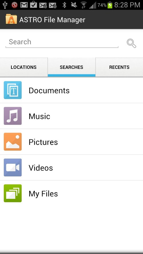 ASTRO File Manager with Clouds